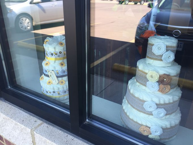 Tiny Toes Showroom Exterior Window Diaper Cake