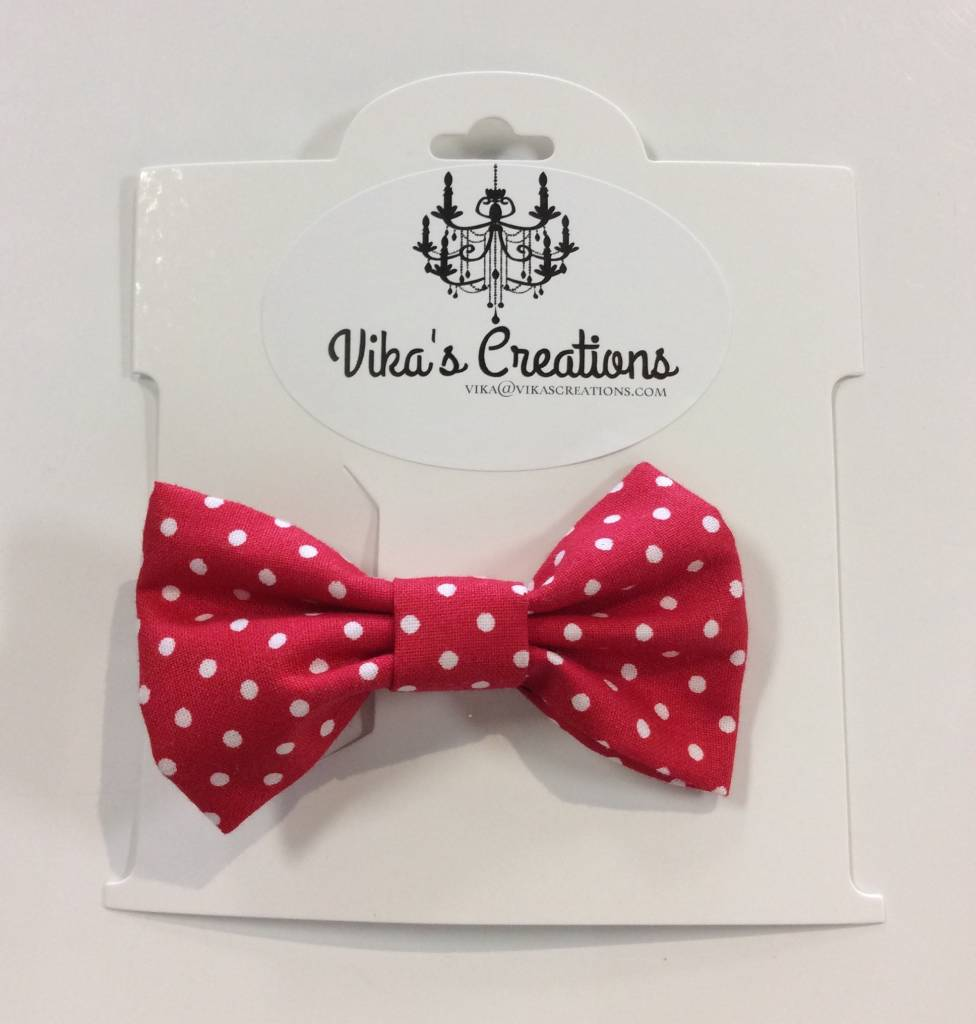 Vika's Creations Bow Alligator Clip - Red Polka Dot