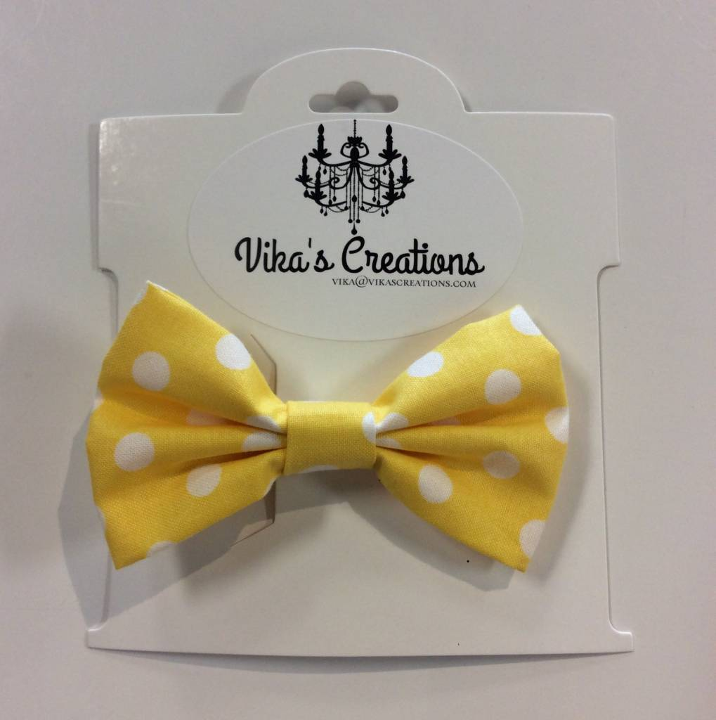 Vika's Creations Bow Alligator Clip - Yellow Polka Dot