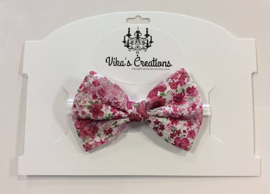 Vika's Creations Headband - Rose Floral Bow with Lace