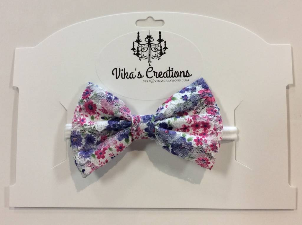 Vika's Creations Headband - Purple Floral Bow with Lace