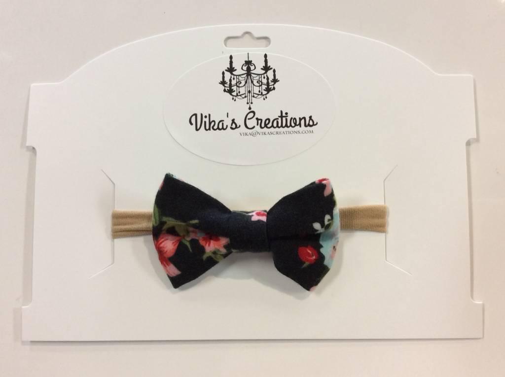 Vika's Creations Headband - Black Floral Bow