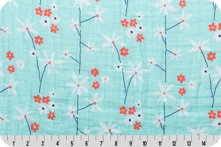 Hilltop Baby and More Swaddle Blanket - Mint/Coral Floral