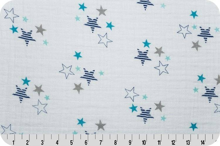 Hilltop Baby and More Swaddle Blanket - Mint/Navy Stars