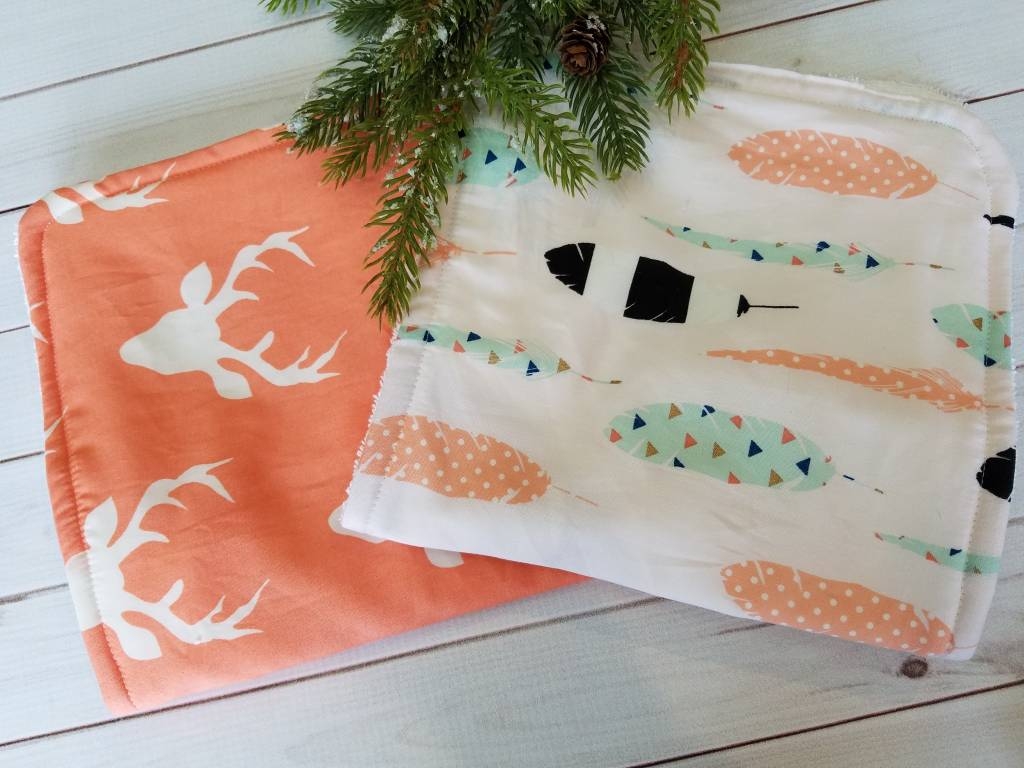 Hilltop Baby and More Cotton Burp Cloths - Coral/Outdoors Duo