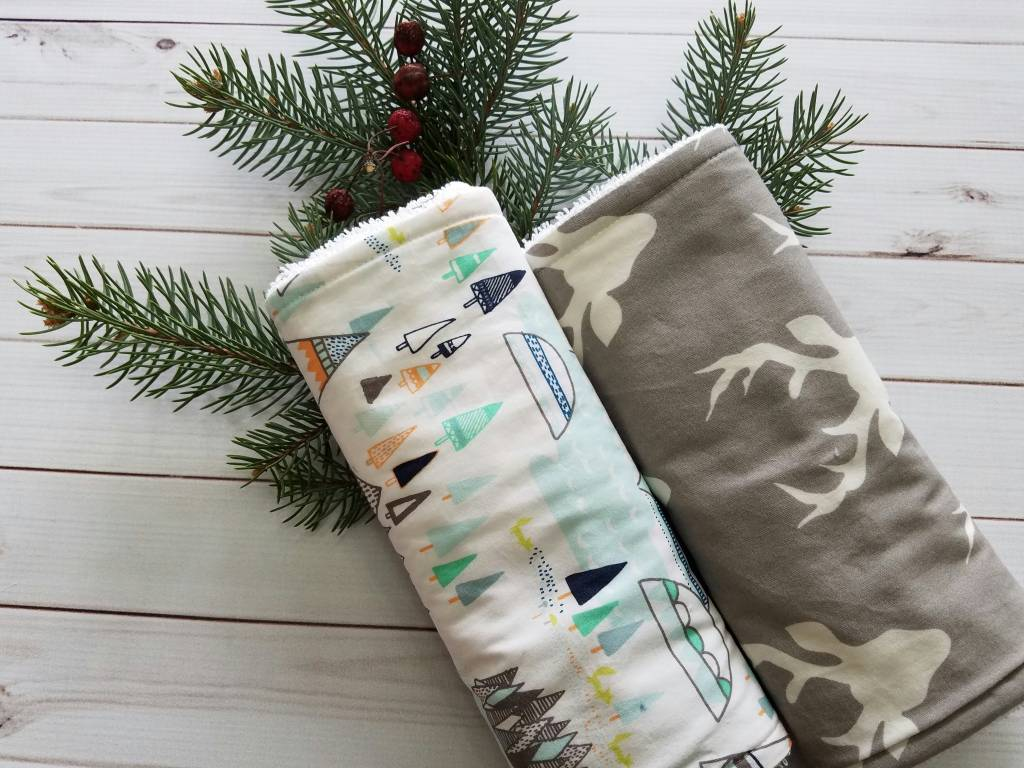 Hilltop Baby and More Cotton Burp Cloths - Gray/Mint Outdoors Duo
