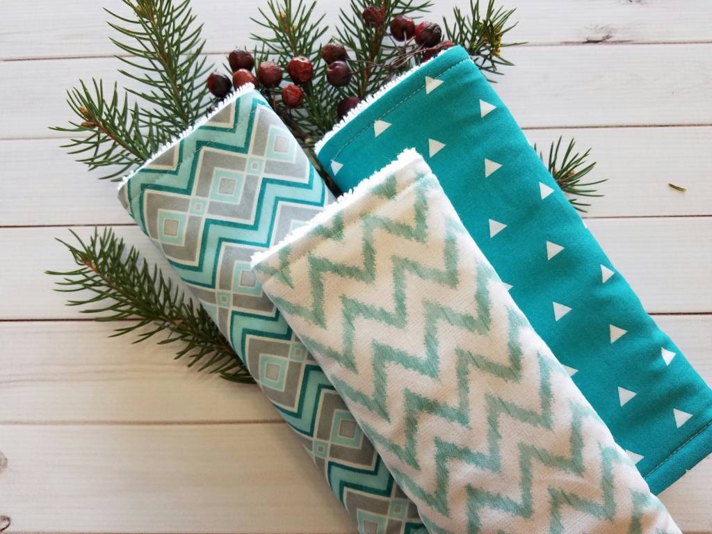 Hilltop Baby and More Cotton Burp Cloths - Mint/Chevrons Trio