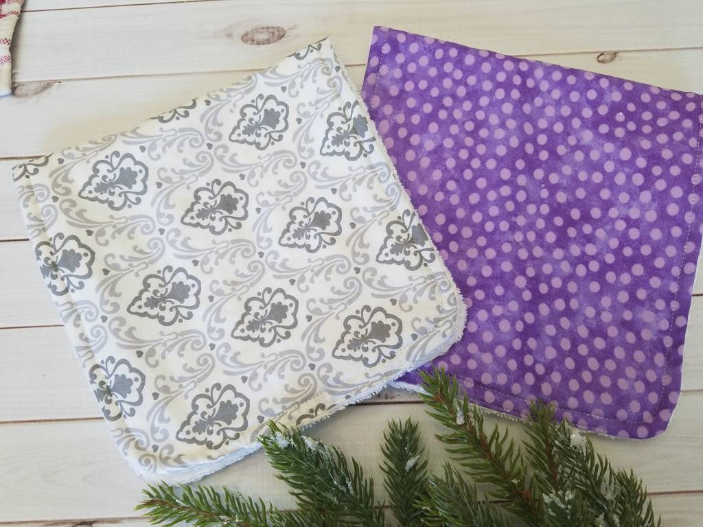 Hilltop Baby and More Cotton Burp Cloths - Purple/Gray Duo