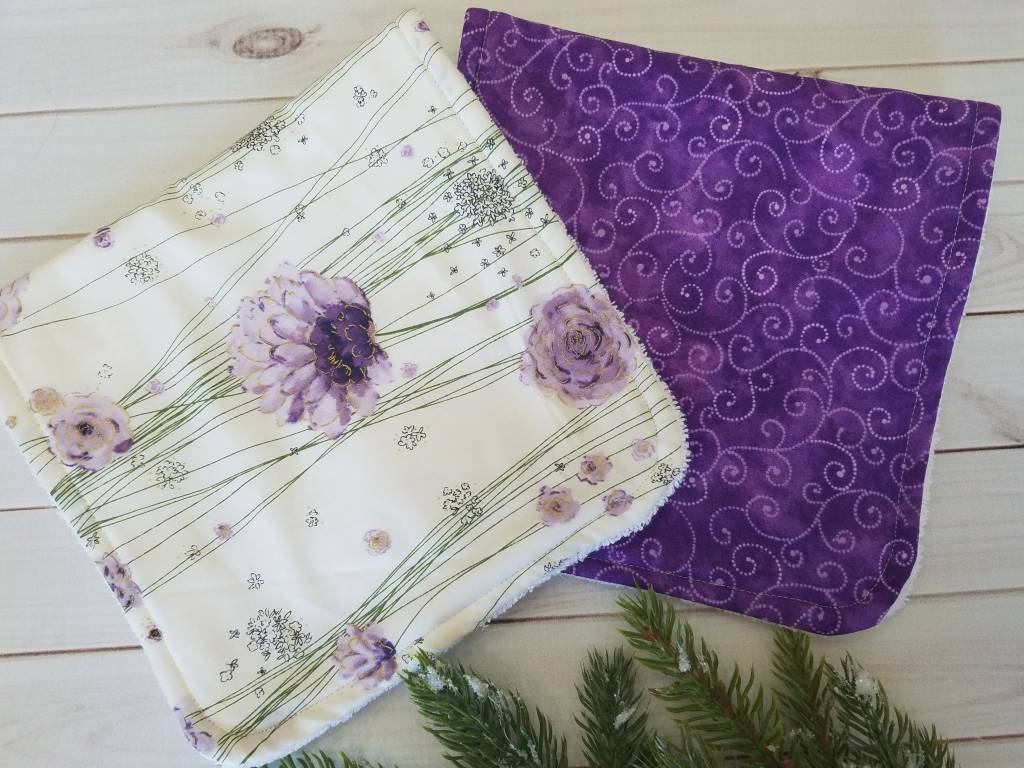 Hilltop Baby and More Cotton Burp Cloths - Purple/White Duo