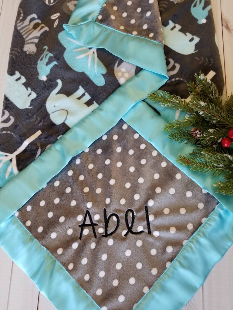 Hilltop Baby and More Satin Minky Blanket - Grey/Mint Animals