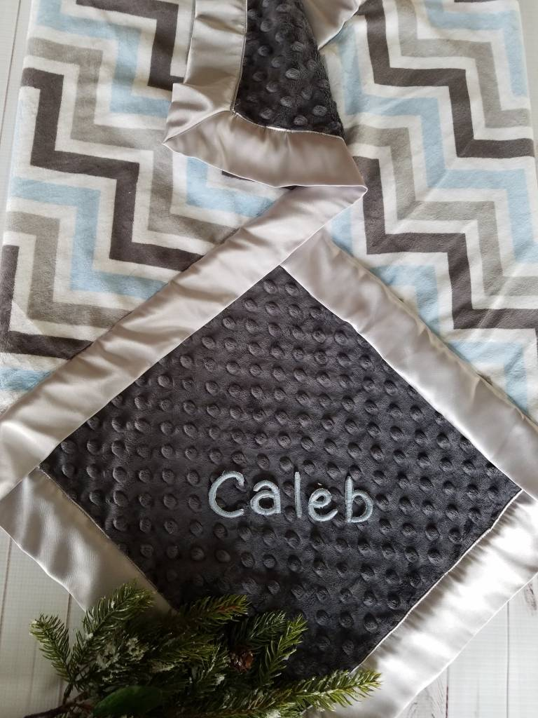 Hilltop Baby and More Satin Minky Blanket - Blue/Gray Chevron