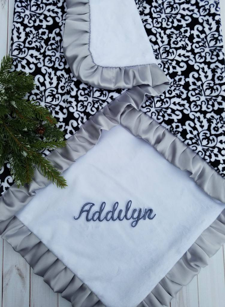 Hilltop Baby and More Satin Minky Blanket - Black/White Floral