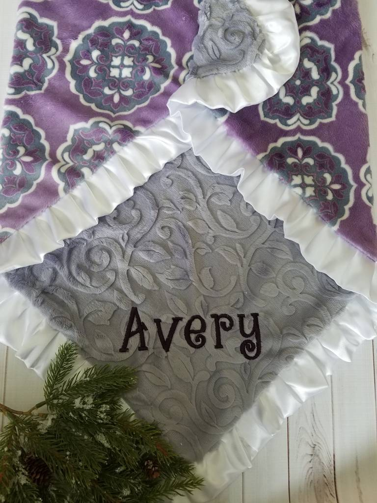 Hilltop Baby and More Satin Minky Blanket - Purple/Gray Floral