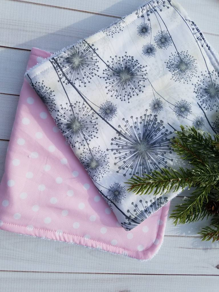 Hilltop Baby and More Cotton Burp Cloths - Pink/Gray Dandelion Duo