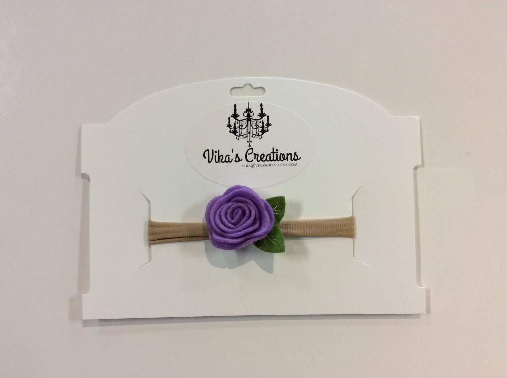 Vika's Creations Headband - Purple Flower with Leaf