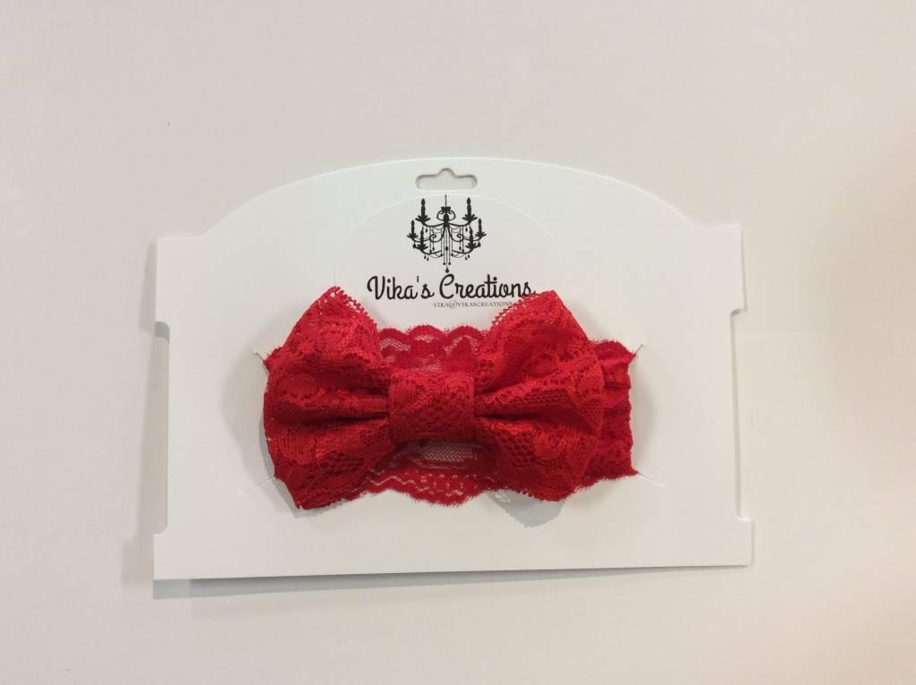 Vika's Creations Headband - Red Lace Bow