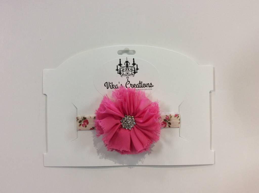 Vika's Creations Headband - Pink Flower with Floral Band