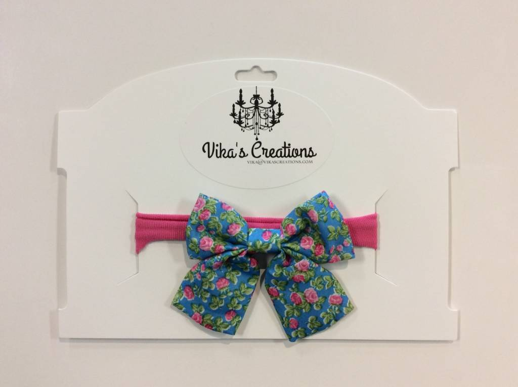 Vika's Creations Headband - Blue Bow with Pink Band