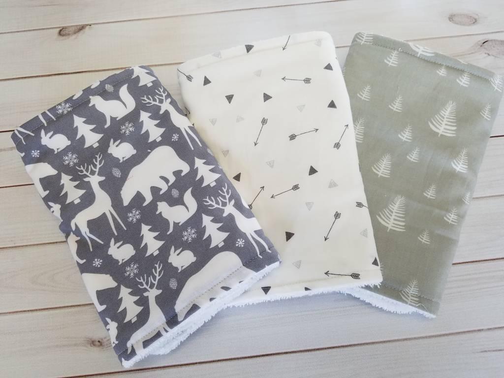 Hilltop Baby and More Cotton Burp Cloths - Grey/White Outdoors Trio