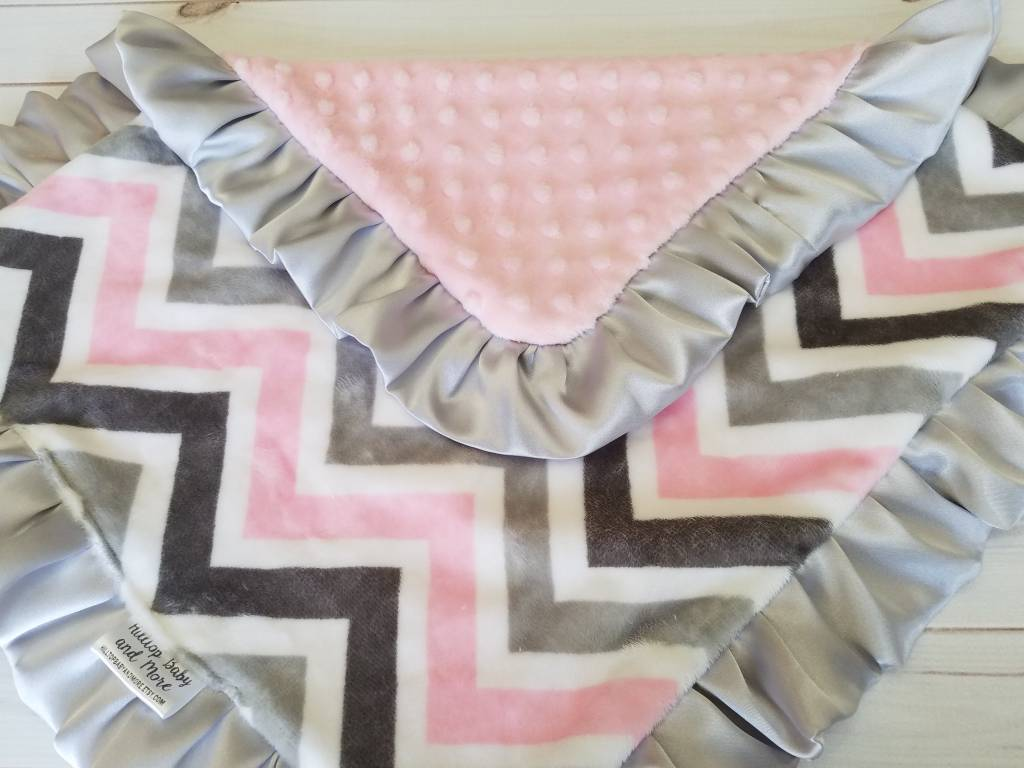 Hilltop Baby and More Car Seat Lovie - Gray/Pink Chevron