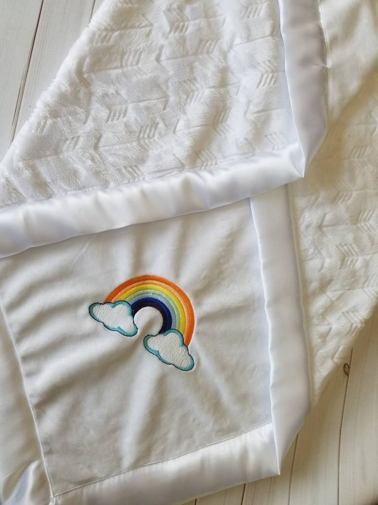 Hilltop Baby and More Satin Minky Blanket - Rainbow Baby