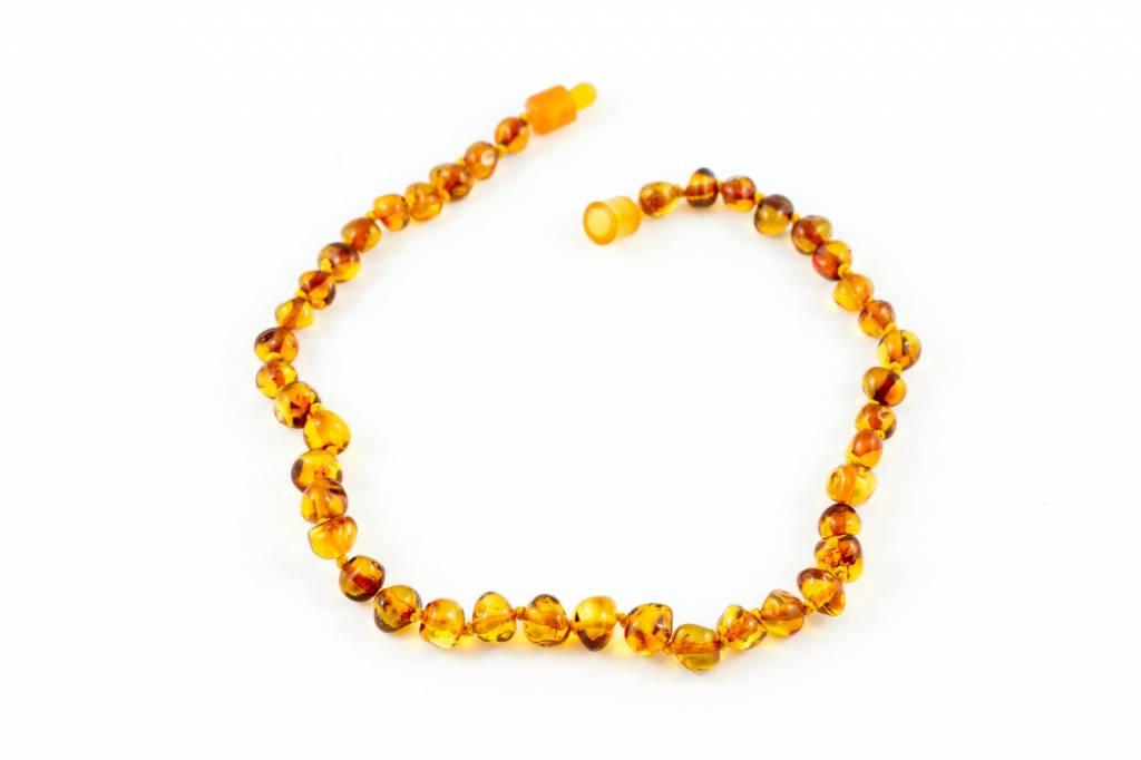 """Healing Hazel Baltic Amber 12.5"""" Teething Necklace - Polished Cognac"""