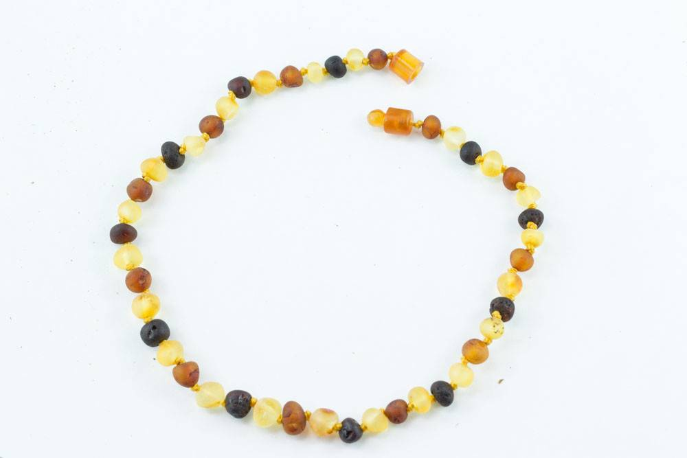 "Healing Hazel Baltic Amber 11"" Teething Necklace - Raw Multicolor"