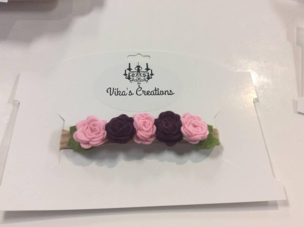 Headband 5 roses pink/ maroon