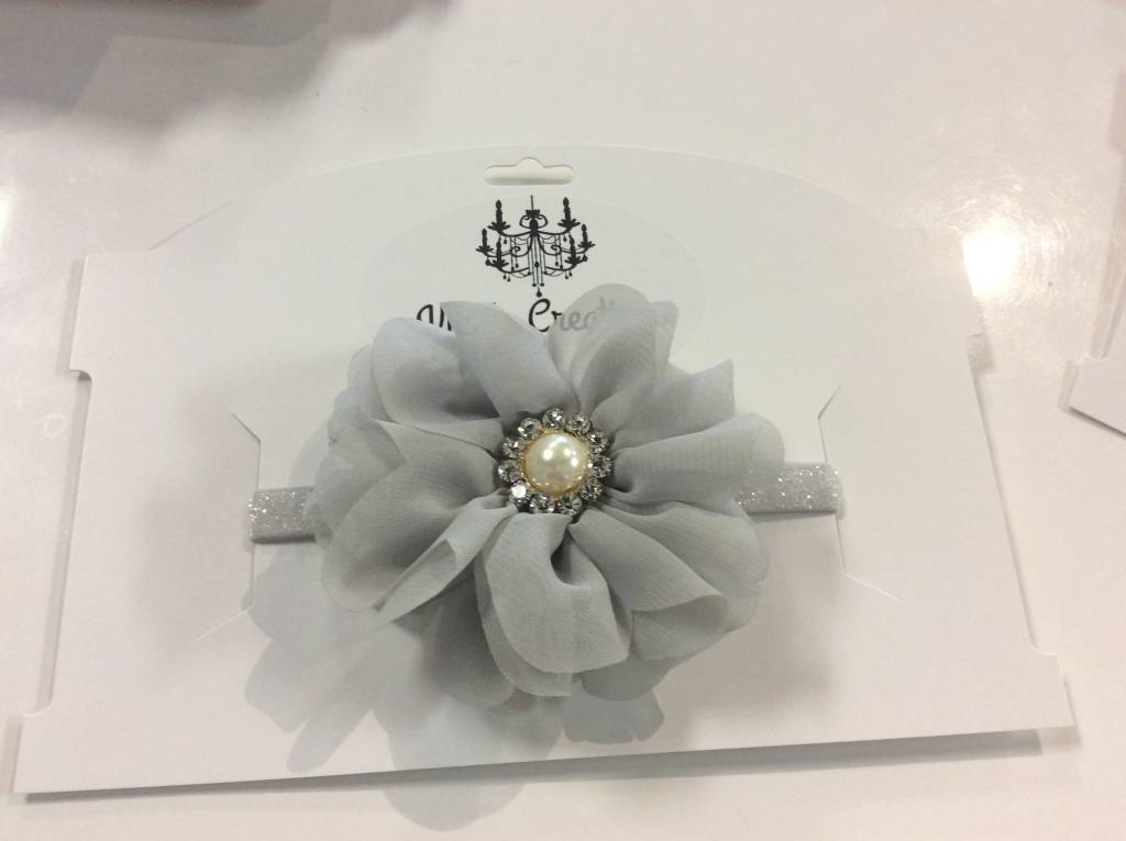 Headband grey flower pearl center
