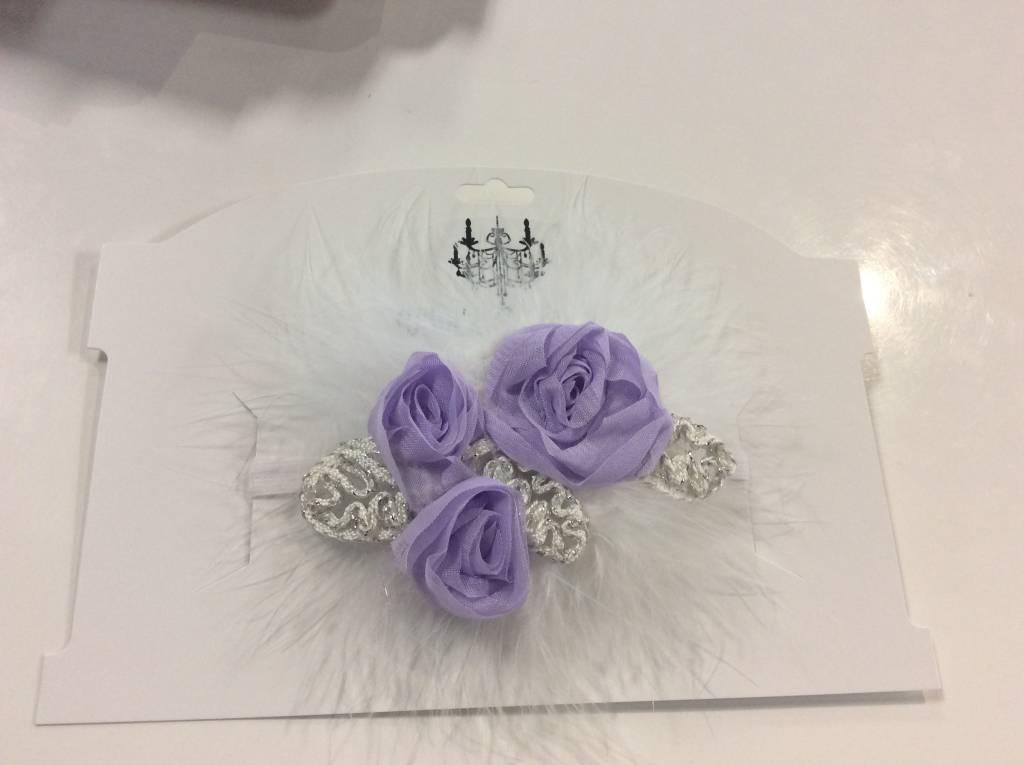 Headband rose feather lavender