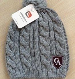 LogoFit Logofit Cable knit beanie with pom pom