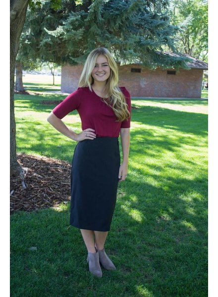 Basic Pencil Skirt with Belt