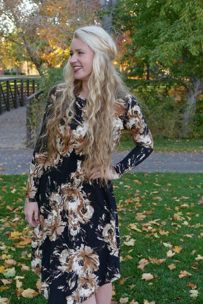 Vienna Black/Taupe Floral Dress