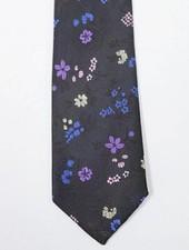 Robbins & Brooks Polyester Pocket Tie- Dark brown design with yellow flower pattern
