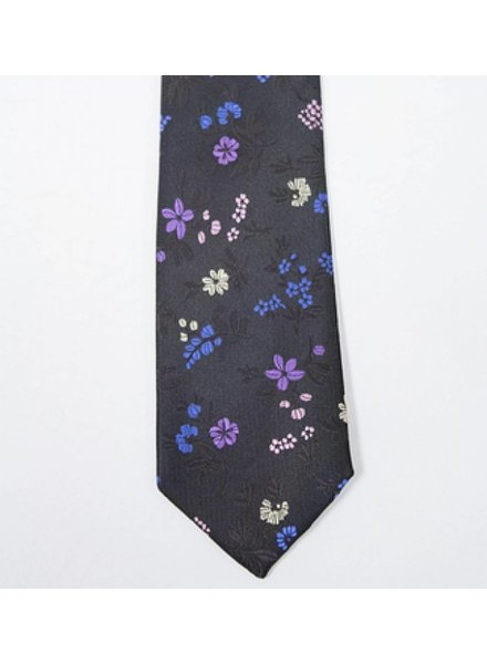 Robbins & Brooks Polyester Pocket Tie- Dark brown design with yellow flower pattern