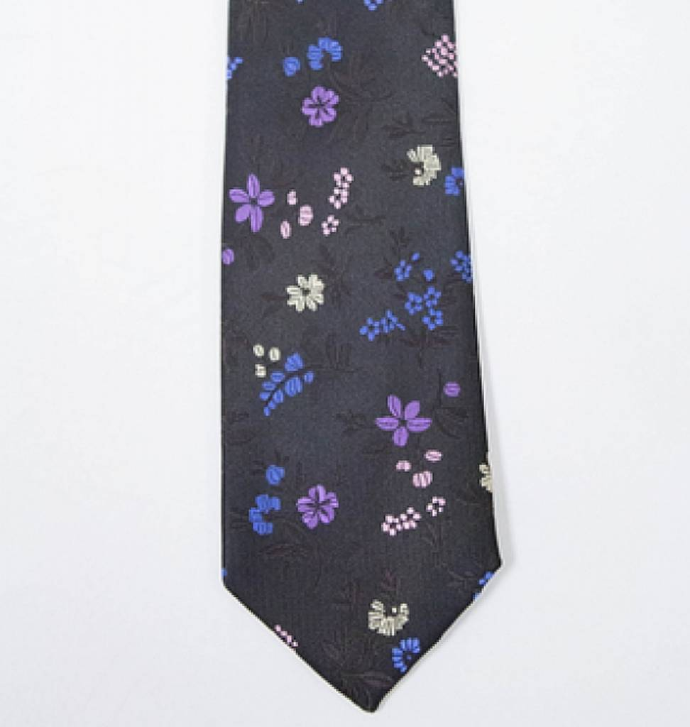 Robbins & Brooks Polyester Pocket Tie- Black Design with Yellow Flower Pattern