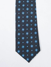 Robbins & Brooks Polyester Pocket Tie- Black Design with Cyan Flower
