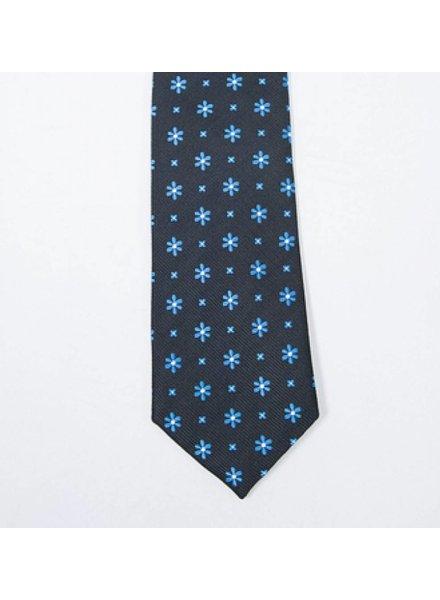 Robbins & Brooks Polyester Pocket Tie- Black Design with Cyan Flower