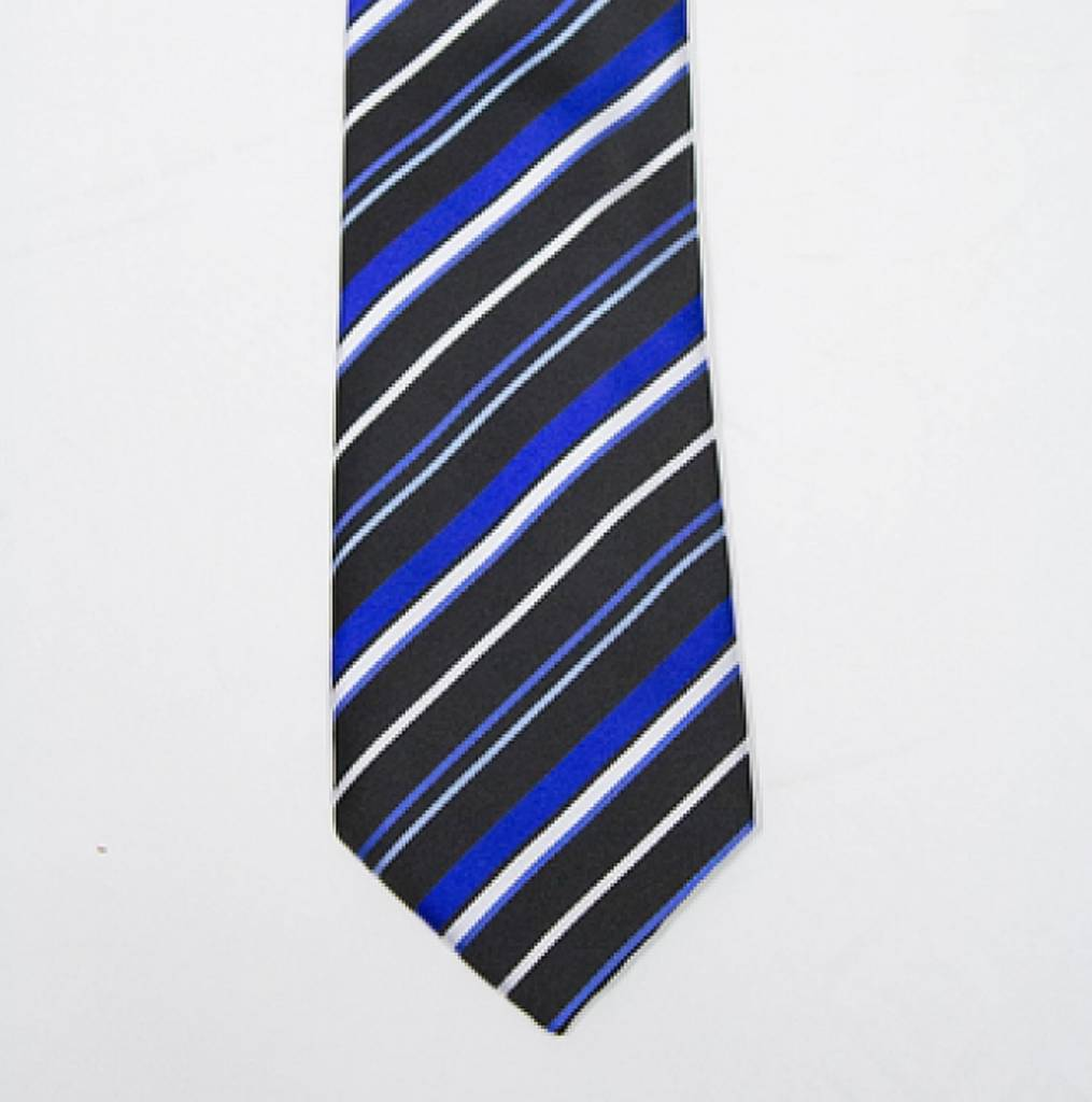 Robbins & Brooks Polyester Pocket Tie- Black, Dark Blue & White Stripes