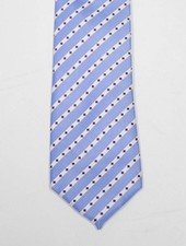 Robbins & Brooks Polyester Pocket Tie- Blue & White Stripes