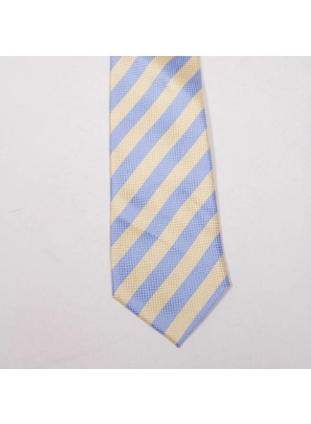 Robbins & Brooks Polyester Pocket Tie- Blue & Yellow Stripes with Checked Pattern