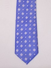 Robbins & Brooks Polyester Pocket Tie- Blue Fabric with Small Flower