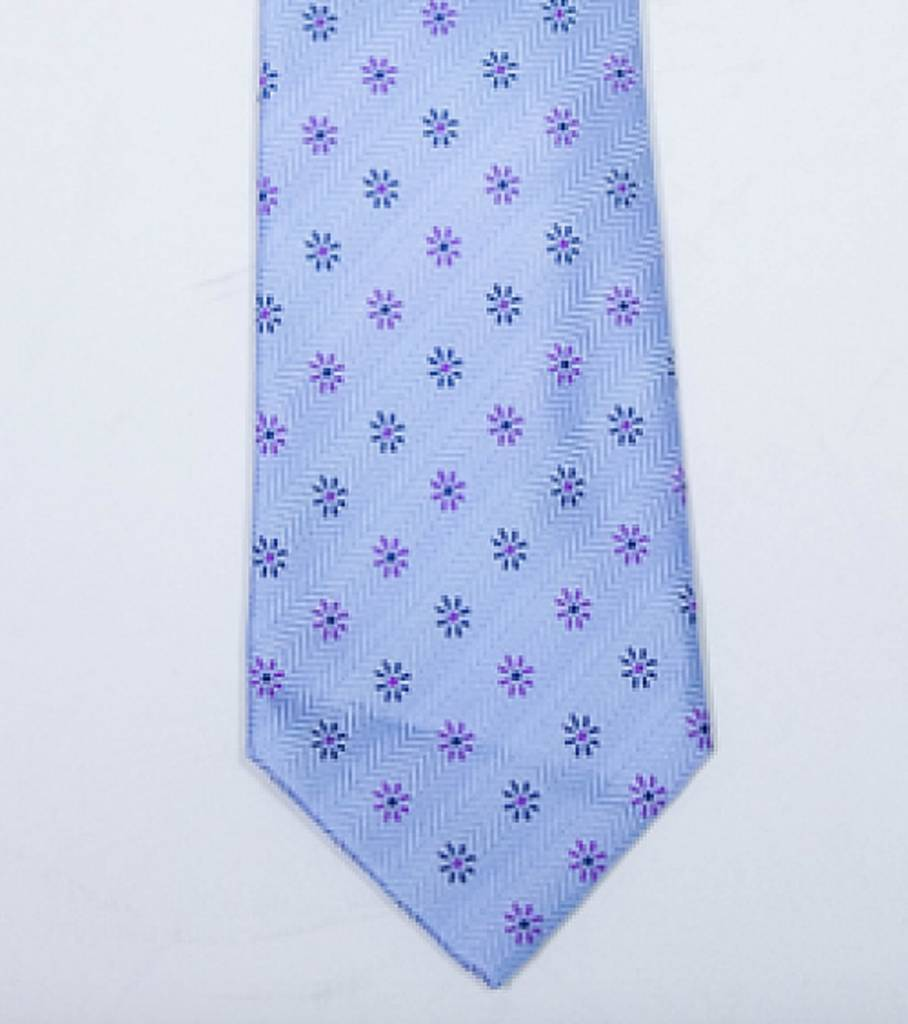 Robbins & Brooks Polyester Pocket Tie- Blue Herringbone Pattern with Little Flower