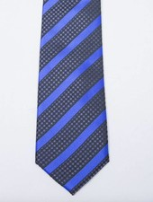 Robbins & Brooks Polyester Pocket Tie- Blue Stripes with Black Checked Pattern
