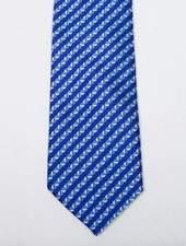 Robbins & Brooks Polyester Pocket Tie- Blue Stripes with Triangle Pattern