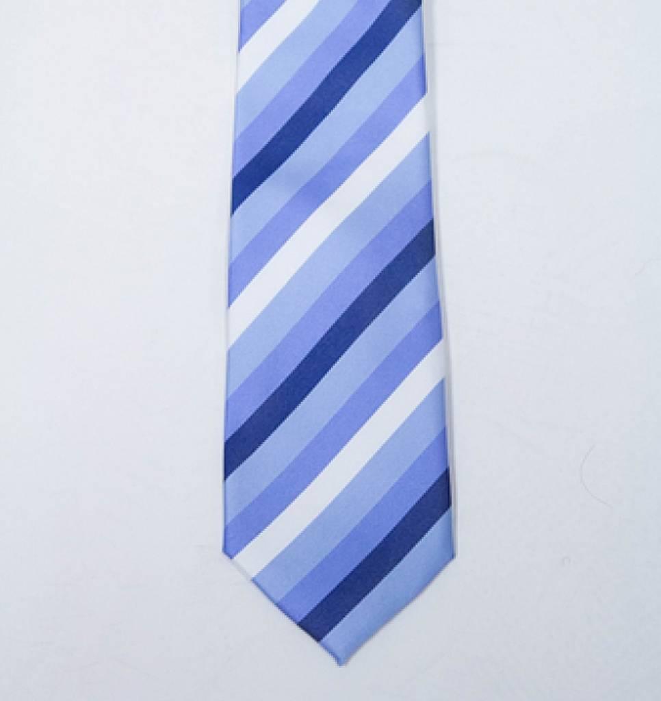 Robbins & Brooks Polyester Pocket Tie- Blue, Navy & White Stripes