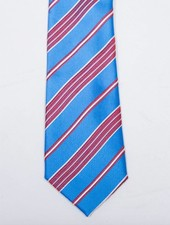 Robbins & Brooks Polyester Pocket Tie- Blue, Red & White Stripes