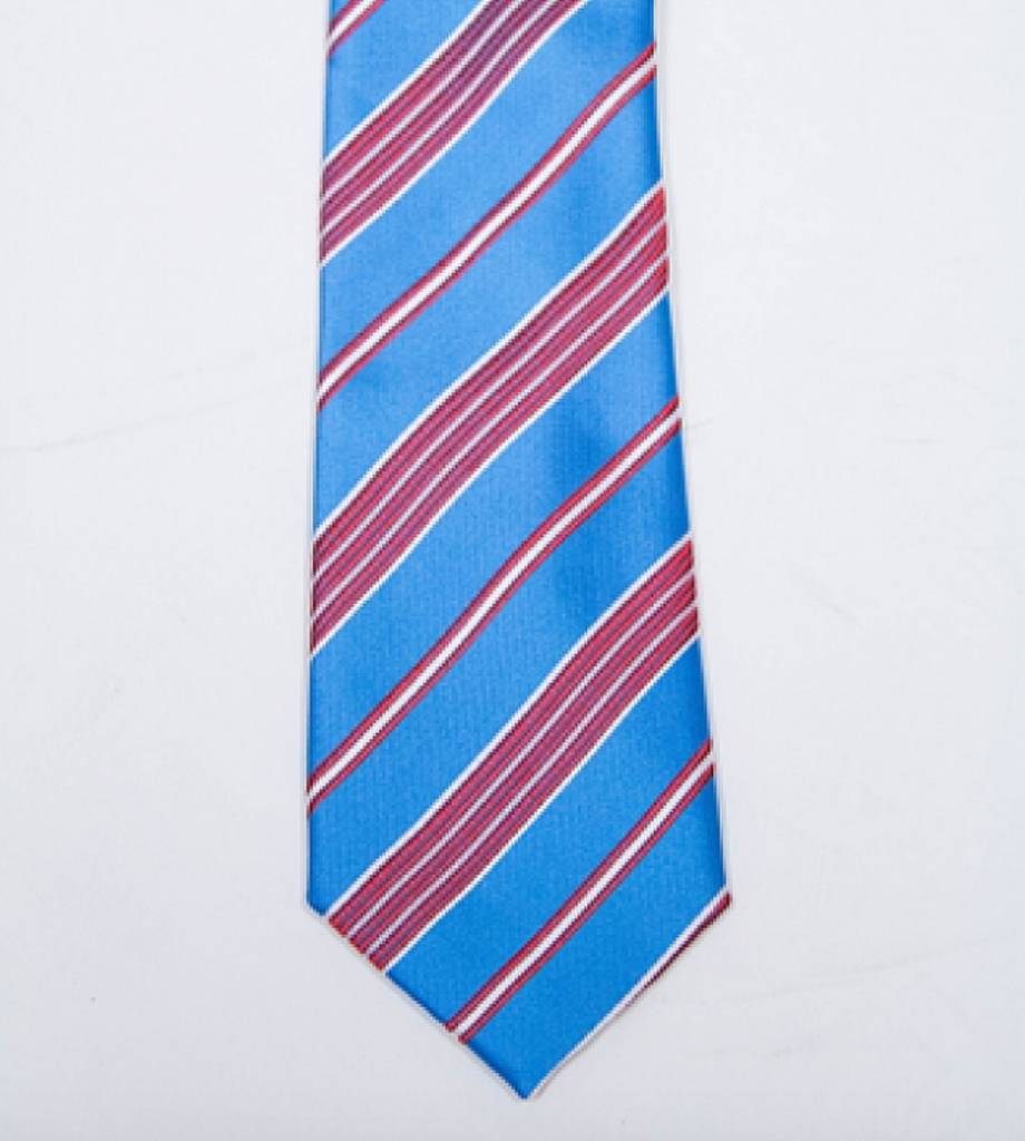 Robbins & Brooks Polyester Pocket Tie- Blue, Red & White Stripes