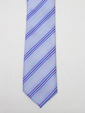 Robbins & Brooks Polyester Pocket Tie- Blue, White & Pink Stripes