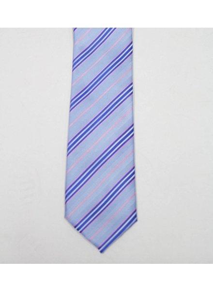 Robbins & Brooks Polyester Pocket Tie- Blue, White & Pink Stripes